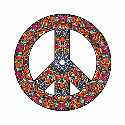 - Psychedelic Peace Sign 60's Art Design Full Color Vinyl Decal - Sized for Stainless Steel Tumbler