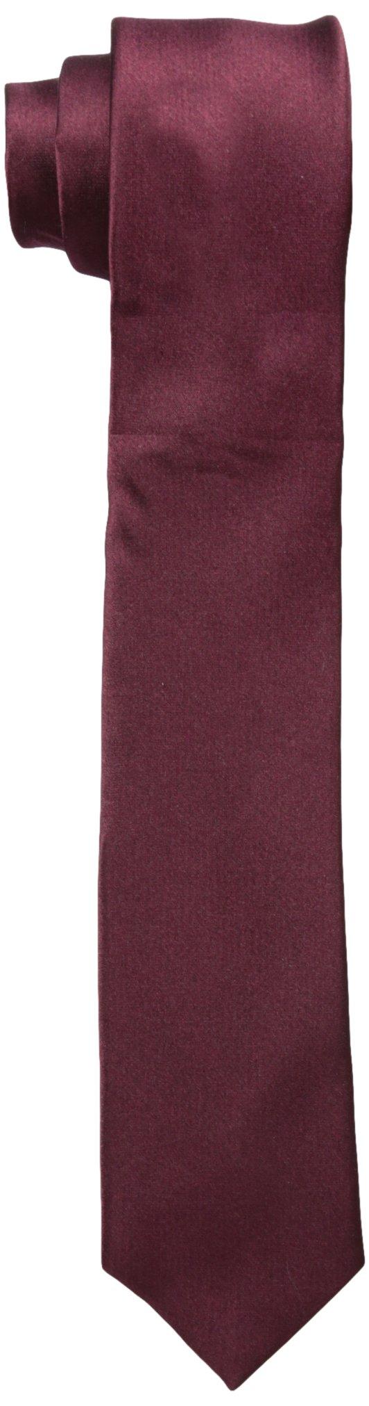 Original Penguin Men's Solid Satin Super Slim Tie, Burgundy, One Size