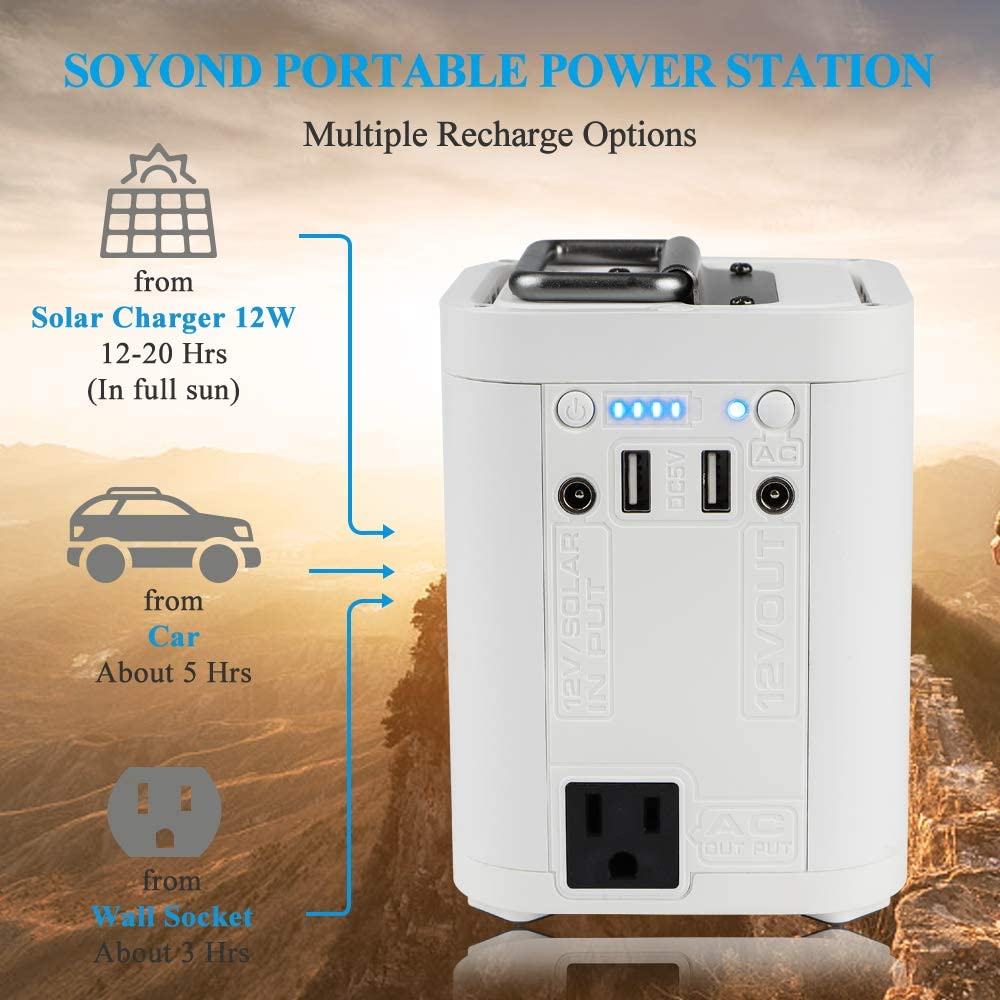 soyond Portable Power Station Solar Generator Rechargeable Backup Power Generator Supply with 110V//100W AC Outlet for CPAP Outdoors Camping Fishing Emergency Hurricane Storm
