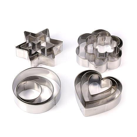 Andux Zone - 12 unidades de moldes de acero inoxidable BGMJ ...