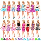 Barwa Lot 22 = 12 PCS Fashion Dresses Outfits Clothes Summer Dress and 10 Pairs Shoes for Bar