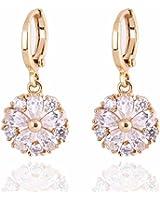 Yazilind bijoux conception de fleur 14K or rempli incrustation brillante Clair Crystal oreilles balancent