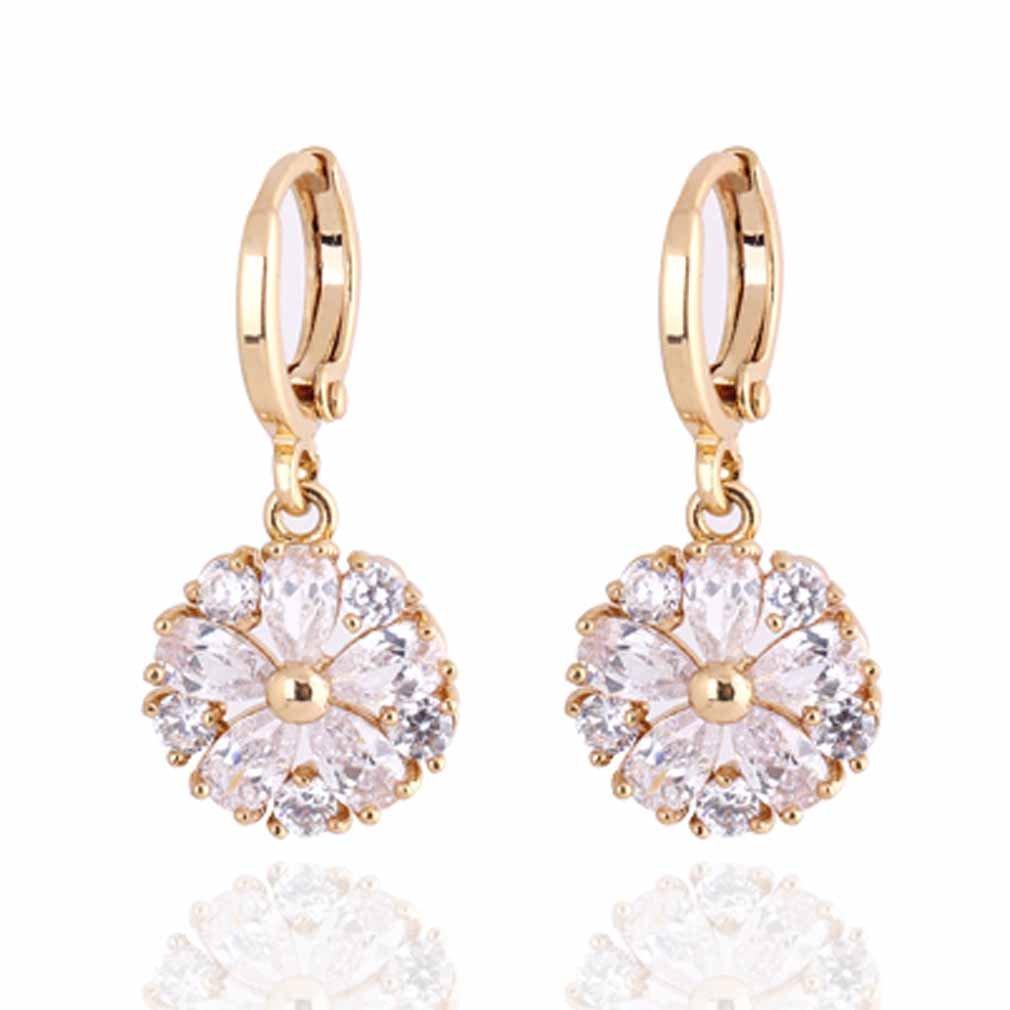 Yazilind Charming Flower Design 14K Gold Filled Inlay Clear Cubic Zirconia Dangle Drop Earrings for Women YAZILIND JEWELRY LTD 1076E0040/0501