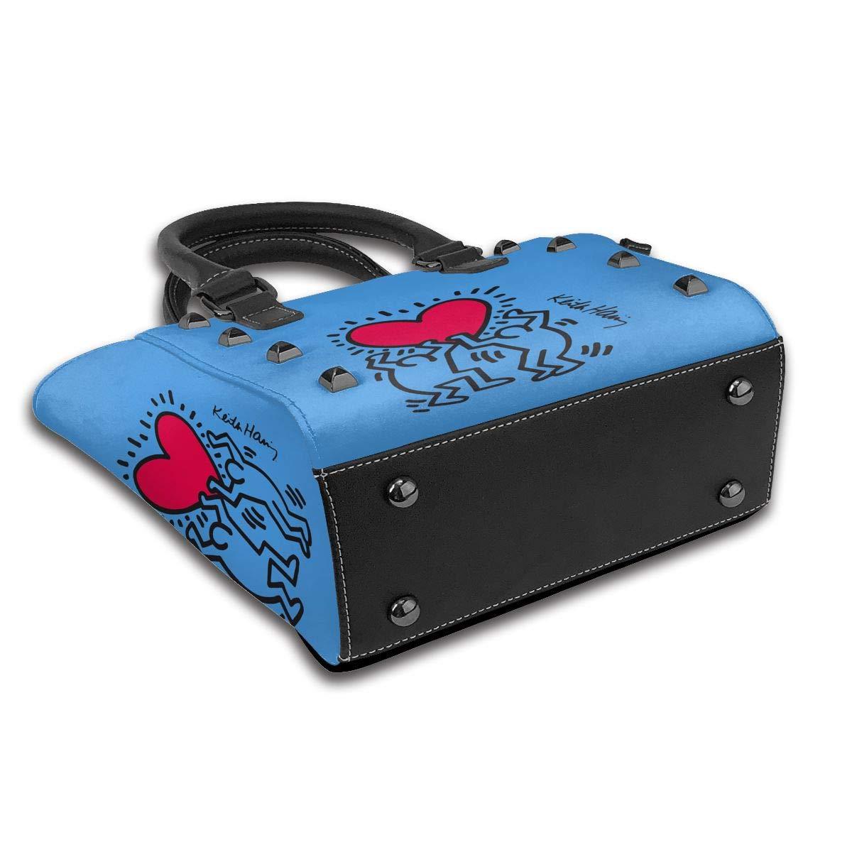 Beer It's Sunny In Philadelphia dammode äkta läder nit axelväska flickor resa skola mini handväska Keith Haring