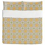 Oriental Tile Duvet Bed Set 3 Piece Set Duvet Cover - 2 Pillow Shams - Luxury Microfiber, Soft, Breathable