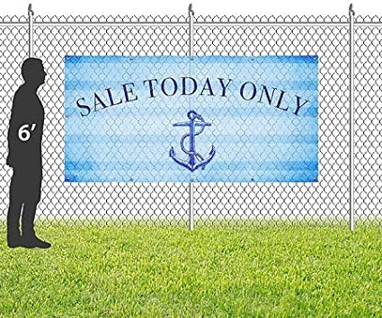 Sale Today Only Classic Navy Wind-Resistant Outdoor Mesh Vinyl Banner 12x4 CGSignLab