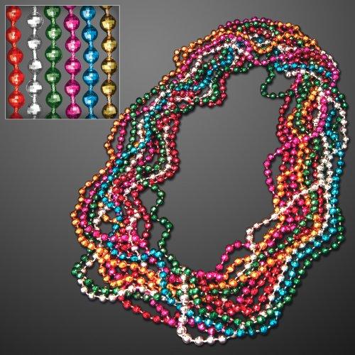 Assorted Color Disco Mardi Gras Beads (Set of 48) ()