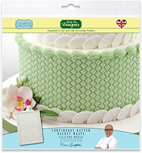 Continuous Rattan Basket Weave Silicone Royal Icing Mold, Ceri Griffiths Creative Cake System for Decorating, Sugarpaste, Fondants and Candies, Food Safe