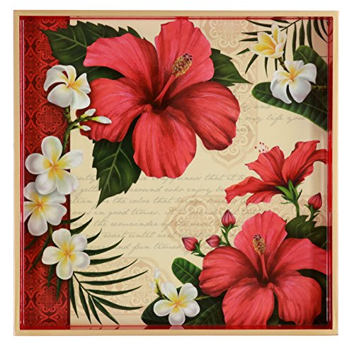 Hibiscus Flower Blossom, Red, White, Green, Decoupage Squ...