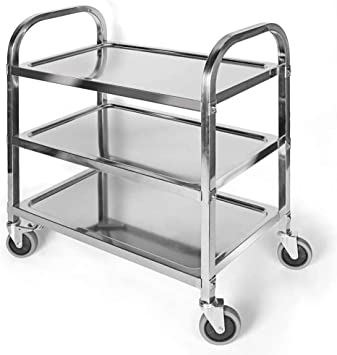 3 Tier Stainless Steel Utility Cart With Wheels Kitchen Trolley Cart Island Rolling Serving Carts 300lbs Capacity Catering Storage Shelf With Locking Wheels For Restaurant Hotels Home 37x20x37inch Home Kitchen