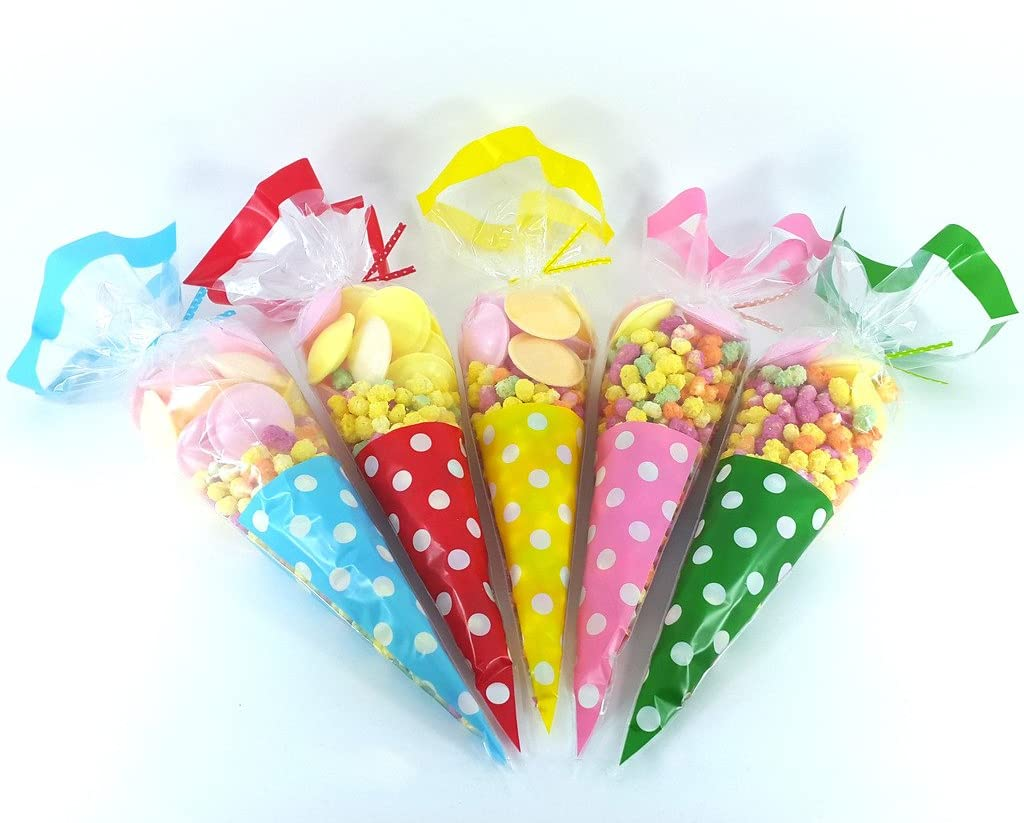 SWEETS PARTY BAGS POLKA DOT PINK GIFTS LARGE CELLOPHANE CONE BAGS