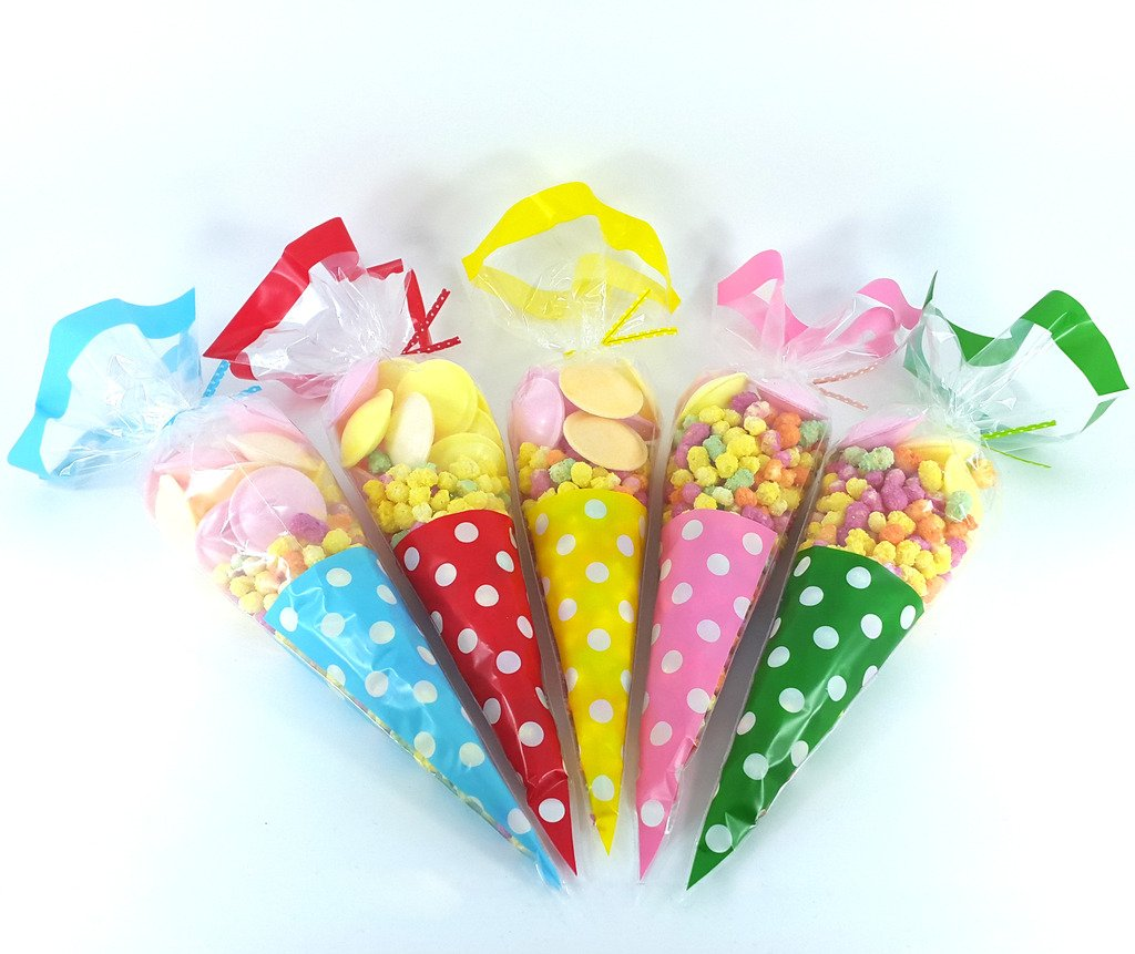 Cellophane Cone Bags - Polka Dot with Twist Ties - Blue - Choose your quantity - blu SKIDDOO ™ Premier Design Products