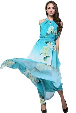 JOTHIN Damen Ärmellose Strandkleid Für Mollige Halfter Bedrucktes  Chiffonkleid Lang Große Größen Sommerkleid Mit Gürtel (