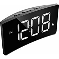 Alarm Clocks, PICTEK Digital Alarm Clock with 5-inch Dimmable LED Curved Screen, Kids Clock with Snooze Function, 12/24 Hour for Bedroom Livingroom Office [with USB Cable, No Aadapter]