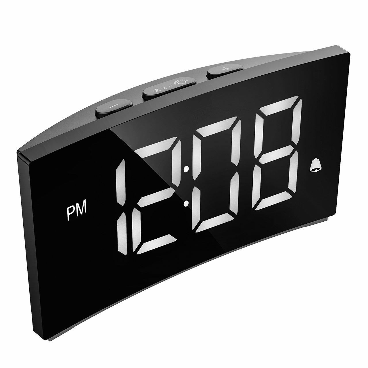 Holife Despertador Digital, [2018 Actualizado] Reloj Despertador Digital de Pantalla Curvada, con 3 Sonidos de Alarma, Fácil de Operacion, Función ...