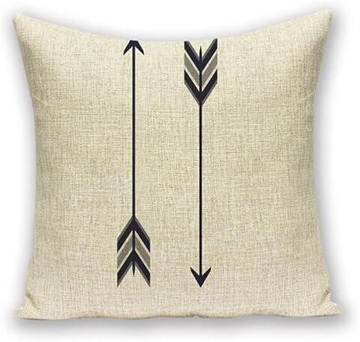 QINU KEONO - Funda de cojín cuadrada, diseño geométrico, lino y algodón, 45 x 45 cm, color negro: Amazon.es: Hogar