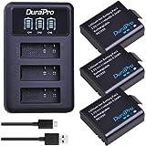 DuraPro 3Pcs 1180mAh PG1050 Sj4000 Battery + LED 3Slots USB Charger for AKASO EK5000 EK7000 SJCAM SJ4000 SJ5000 EKEN M10 4K H8 H9 H9R H8R GIT-LB101 GIT PG900