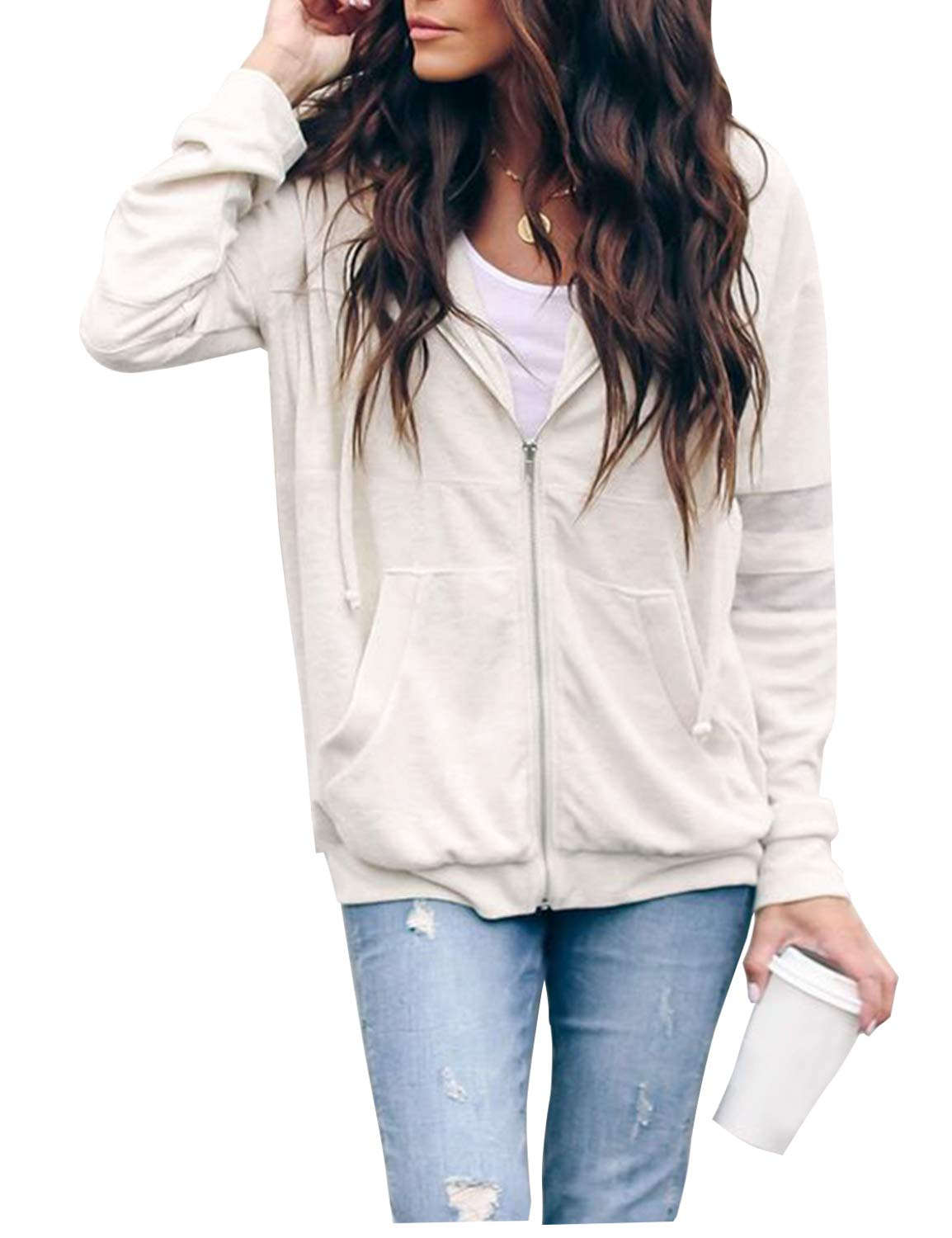 Blooming Jelly Womens Long Sleeve Zip Up Pocketed Hoodie Jacket White
