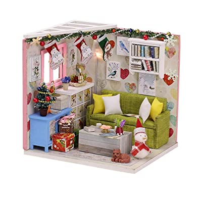 CCGTOY DIY Dollhouse Kit Wooden DIY Miniature Dollhouse Kit Kids Parent-Child Toy with LED Light Dust Proof Cover: Toys & Games