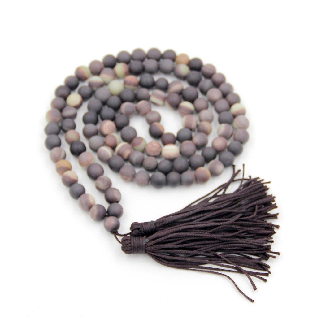 OVALBUY 8mm Zipao Stone Beads Tibetan Buddhist Prayer Meditation Mala Rosary