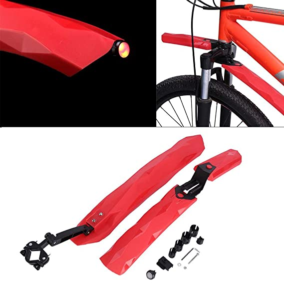 Bicycle Fender Set Front Rear Mudguards Foldable Quick Assemble Kit Red