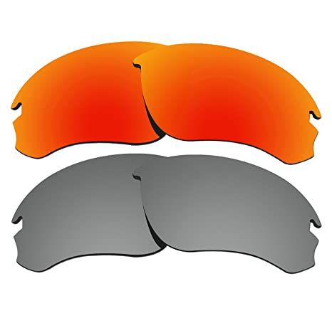 e3750c9c25 2 Pairs COLOR STAY LENSES 2.0mm Thickness Polarized Replacement Lenses for  Oakley Speed Jacket OO9228 Fire Red   Titanium - - Amazon.com