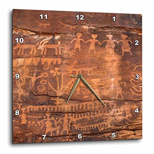Rose Clock Parts - 3dRose 3D Rose USA-Southwest-Indian Petroglyphs on Sandstone Wall Clock, 13