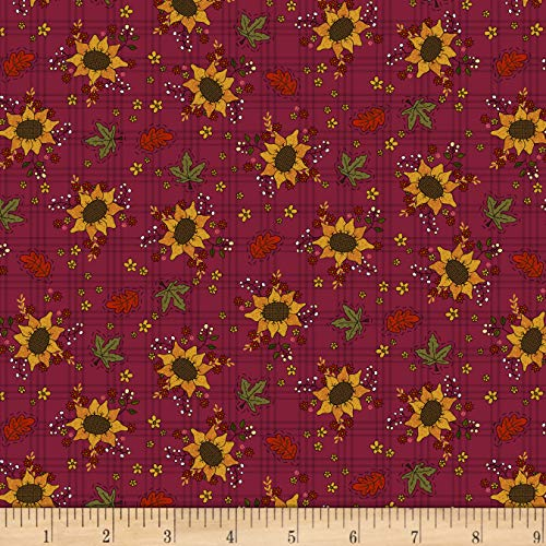 (Henry Glass Live Within Your Harvest Sunflower Burgundy, Fabric by the Yard )