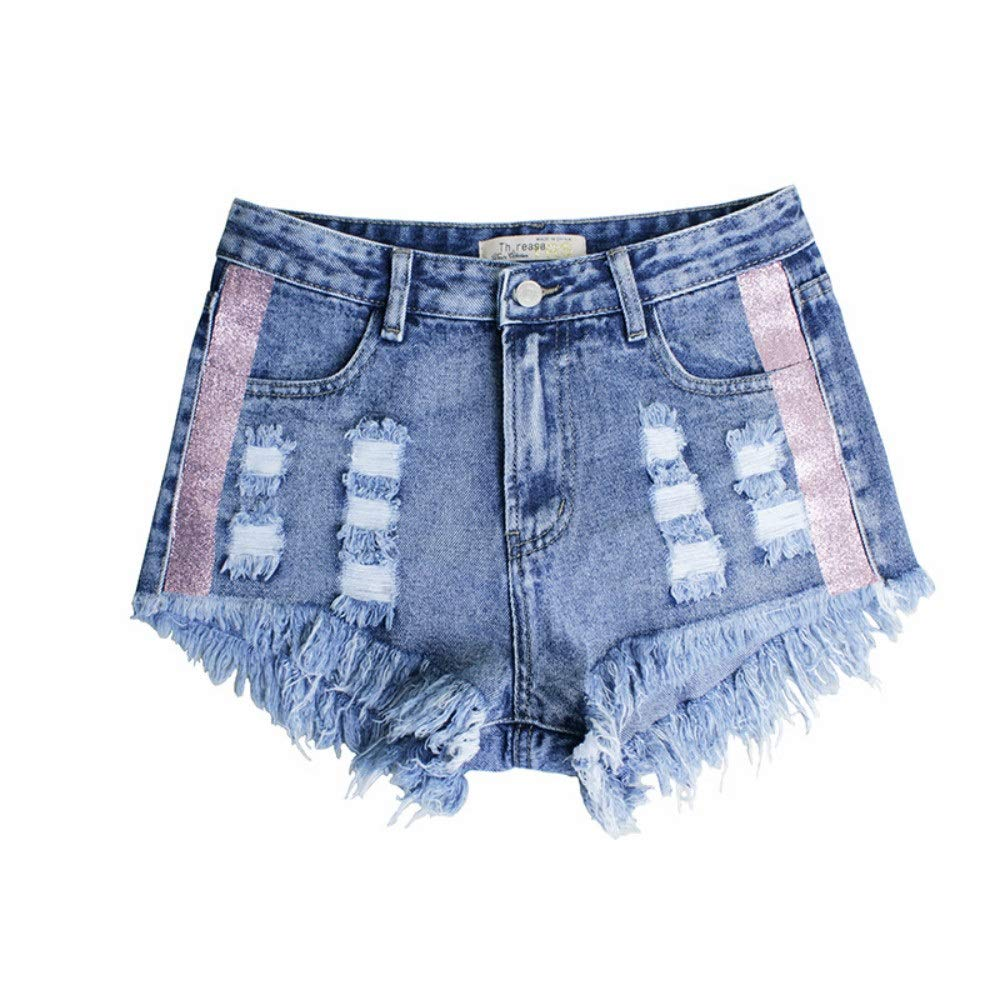 bluee DingXW Spring and Summer Models, Holes Irregular Cats Fringed Side colord Webbing Denim High Waist Pants Shorts Slim Casual Retro Hot Sexy Hot Pants (color   bluee, Size   L)