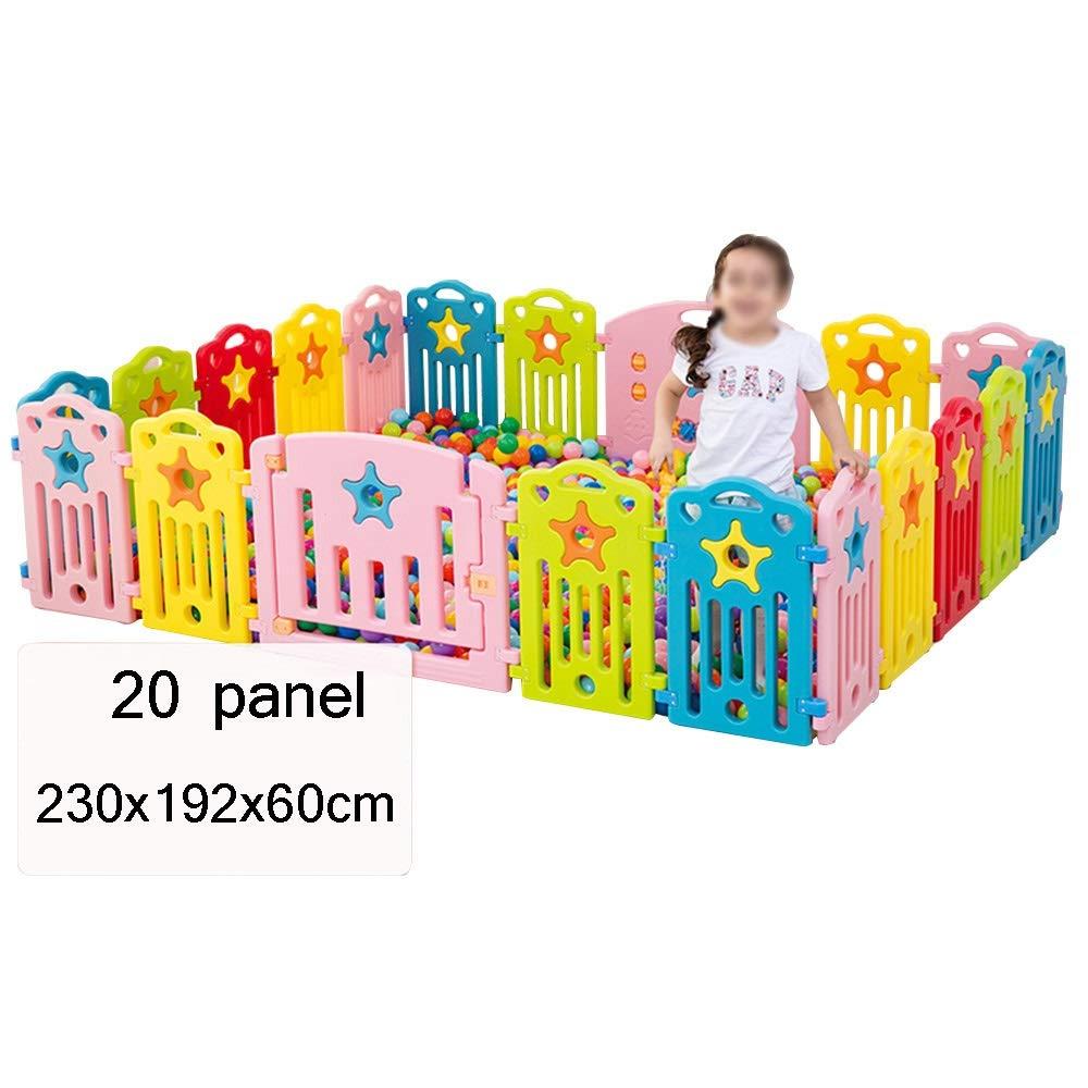 QFFL Baby Playpen、20パネルキッズアクティビティセンターポータブルPlayard、屋内屋外ベビーフェンス - 幼児用ゲーム&ゲートとゲームステーション付きセーフプレイヤードプレイペン ベビーサークル   B07SCB17BF