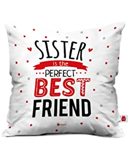 Indigifts Indibni Micro Satin, Fibre Sis Is Best Friend Quote Printed Square Cushion Cover (White, 12X12) with Filler