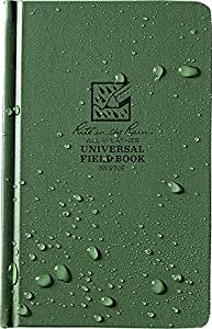 "Rite in the Rain All-Weather Hard Cover Notebook, 4 3/4"" x 7 1/2"", Green Cover, Universal Pattern (No. 970F)"