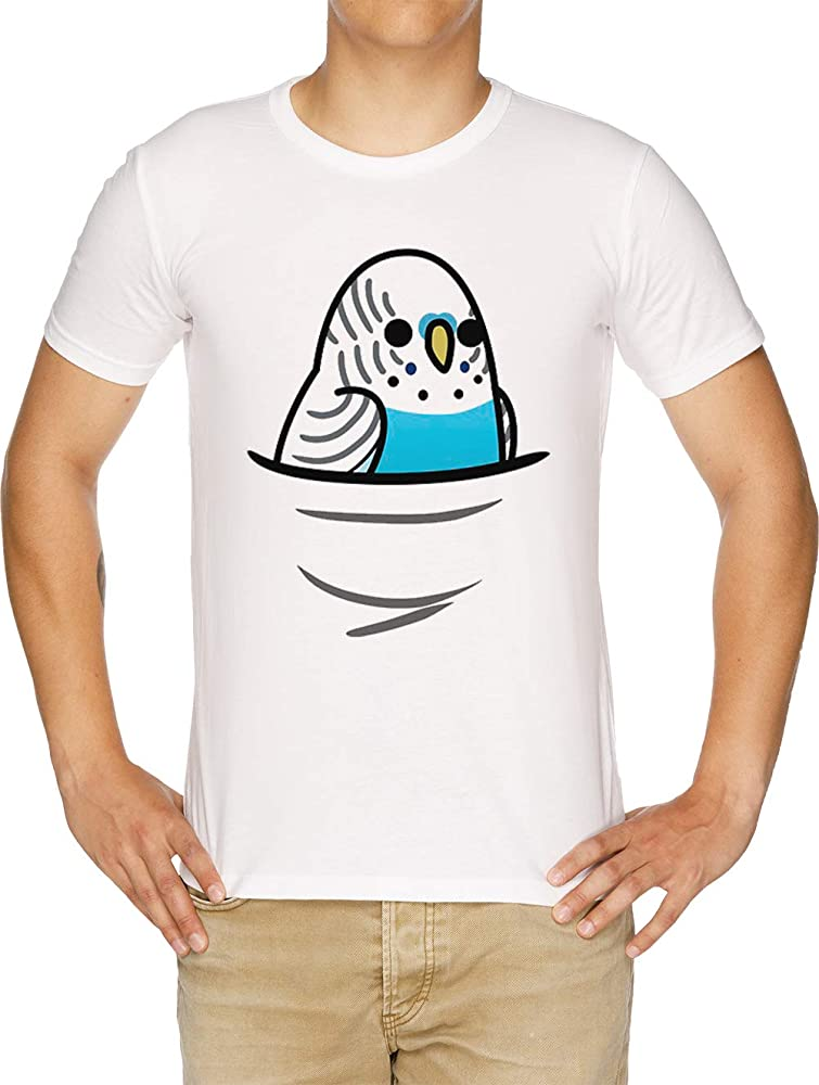 También Muchos ¡Aves! - Azul Periquito Camiseta Hombre Blanco: Amazon.es: Ropa y accesorios