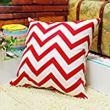 TAOSON Chevron Zig Zag Cotton Canvas Pillow Sofa Throw White Printed Cushion Cover Pillow Case with Hidden Zipper Closure Only Cover No Insert 25x 25 Inch 65x65cm-Red