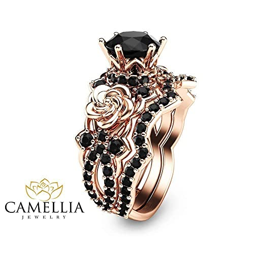 c251e8499fc594 Amazon.com: Black Diamond Engagement Ring Set 14K Rose Gold Wedding Rings  Nature Inspired Set: Handmade