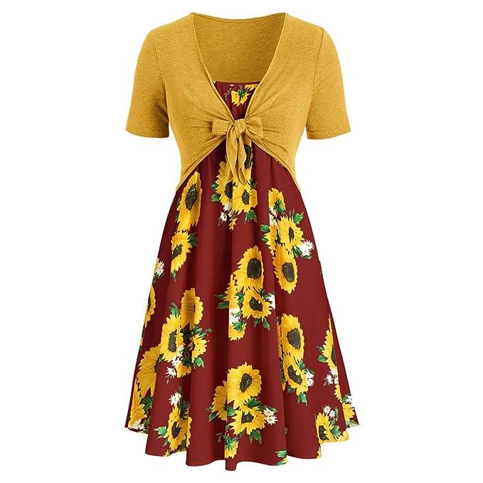 Amazoncom Vestido De Mujer Con Estampado De Girasol Con