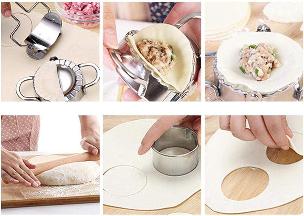 farmer-W 5pcs Dumpling Maker Coupe De Peau De Boulette Moule /À Ravioli /À La Boulette De Pincement Manuel Moule De Boulette en Acier Inoxydable Et Presse-p/âte pour La Cuisine /À Domicile