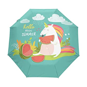 5dda05709c8f Amazon.com : senya Cute Unicorn with Watermelon Umbrella Windproof ...