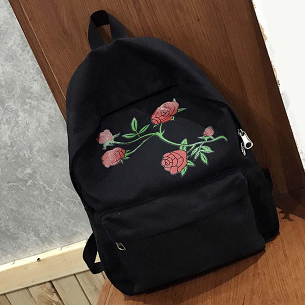 Fashion Girl School Bags with Rose Embroidered Canvas Backpack Rucksack Shoulder Bag Crossbody Messenger Bag (Black)