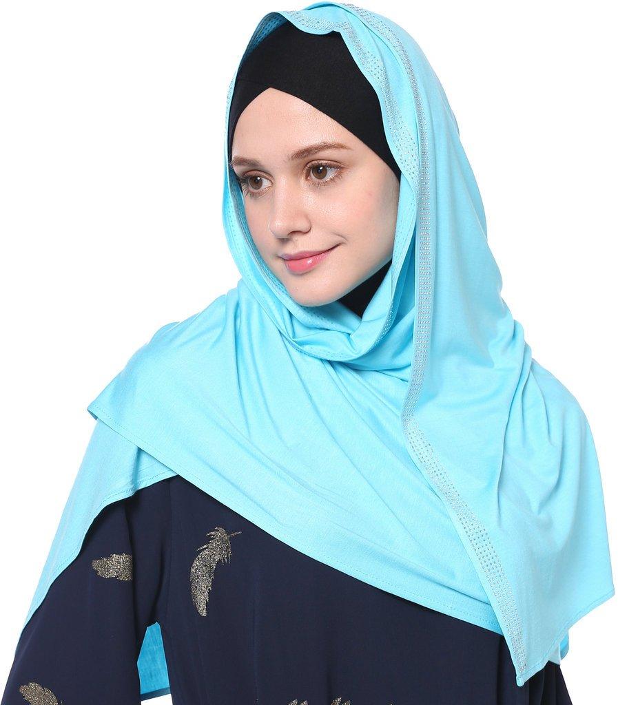 YI HENG MEI Women's Modest Muslim Islamic Soft Solid Cotton Rhinestones Long Hijab Headscarf 70×25inch,Lake Blue