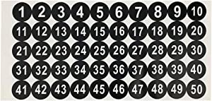 1 Inch Black 1 to 50 Consecutive Number Stickers Premium Decal for Mailbox Signs Window Door Cars Toolbox Address Number