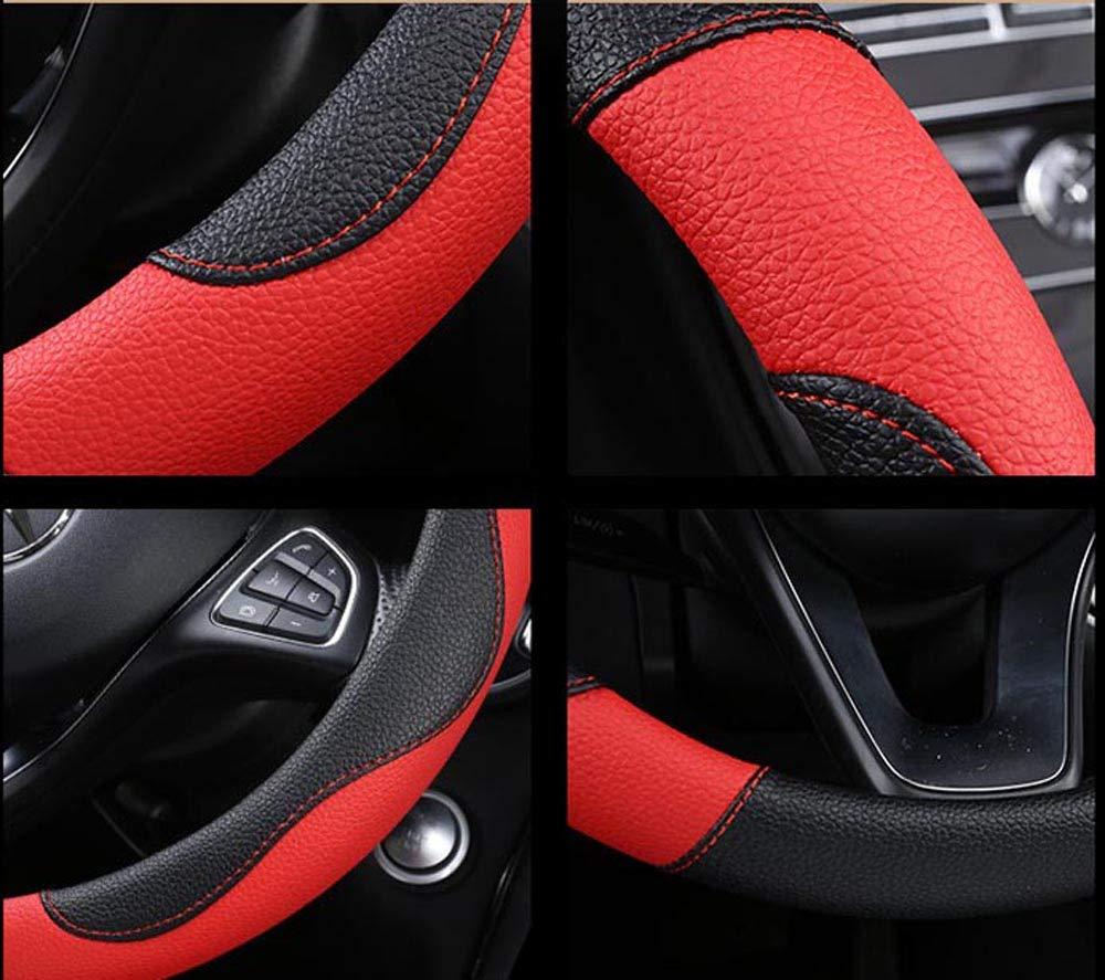Istn Unisex Sport Stil Kontrast Farbe rutschfeste Schwei/ß gute atmungsaktive PU Kunstleder 15 Zoll Auto Lenkrad Abdeckung