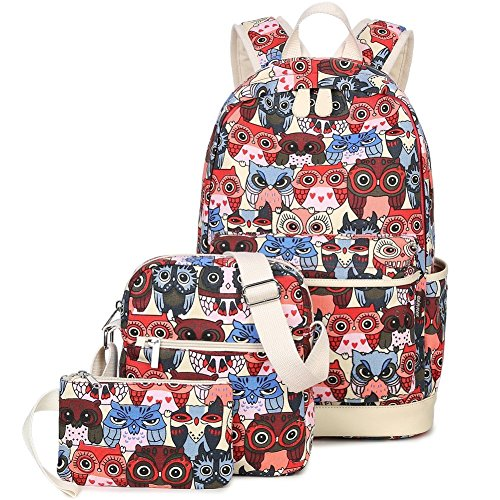 SANNU Fashion Canvas Schulrucksack 3 Set 14 Zoll Laptop Rucksäcke für Mädchen (Schwarz) Rot 6AoudnWcZd