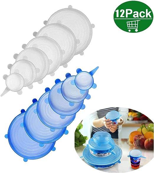 frutas reutilizables para ahorro de alimentos para tazones de hogar latas microondas y congelador Tapas el/ásticas de silicona transparente paquete de 6