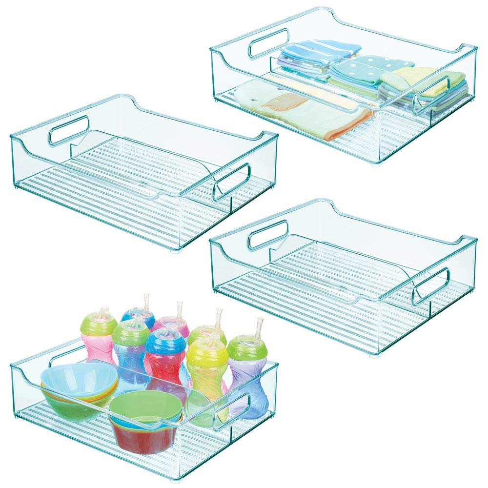 mDesign Wide Plastic Storage Container Bin with Handles - Divided Organizer for Kids/Child Supplies in Kitchen, Pantry, Nursery, Bedroom, Playroom - BPA Free, 14.5'' Long, 4 Pack - Sea Blue by mDesign