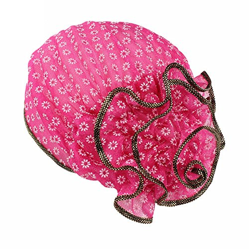 (Women Flower Cancer Chemo Hat Beanie Scarf Turban Wrap Cap Hotpink)
