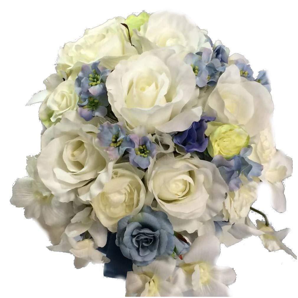 花職人の店 いるでぱいん ウエディングブーケ ブートニア セット 当ショップの大人気定番 ラウンドブーケ 白 バラ カーネーション マム 白 青 ブルー ブライダルブーケ ウエディング ブライダル アートフラワー シルクフラワー 造花 B07JC3SF7Z