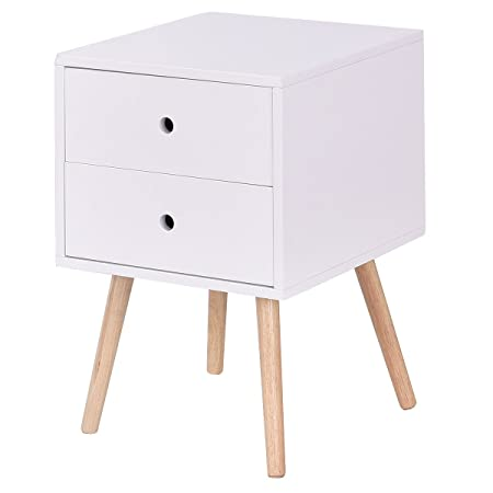 Giantex Side End Table W 2 Drawers Mid-Century Accent for Bedroom Living Storage Home Furniture Nightstand 1