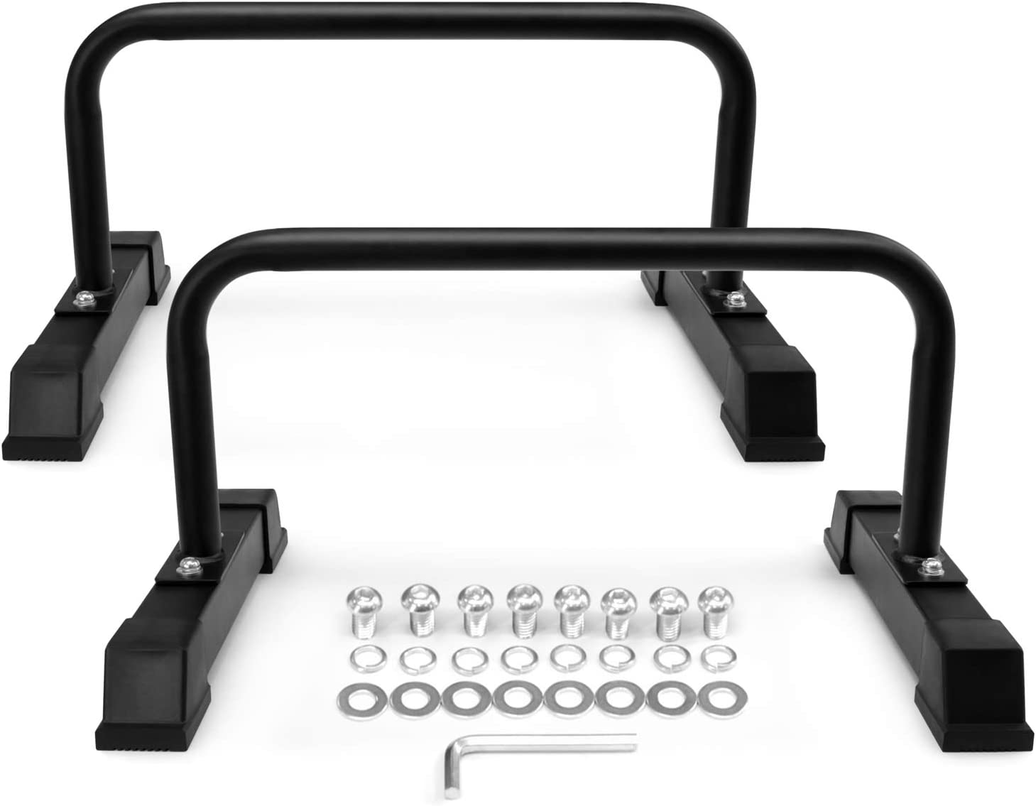 Yes4All Steel Parallettes Push-Up Bars with Non-Slip Rubber Feet 24×12