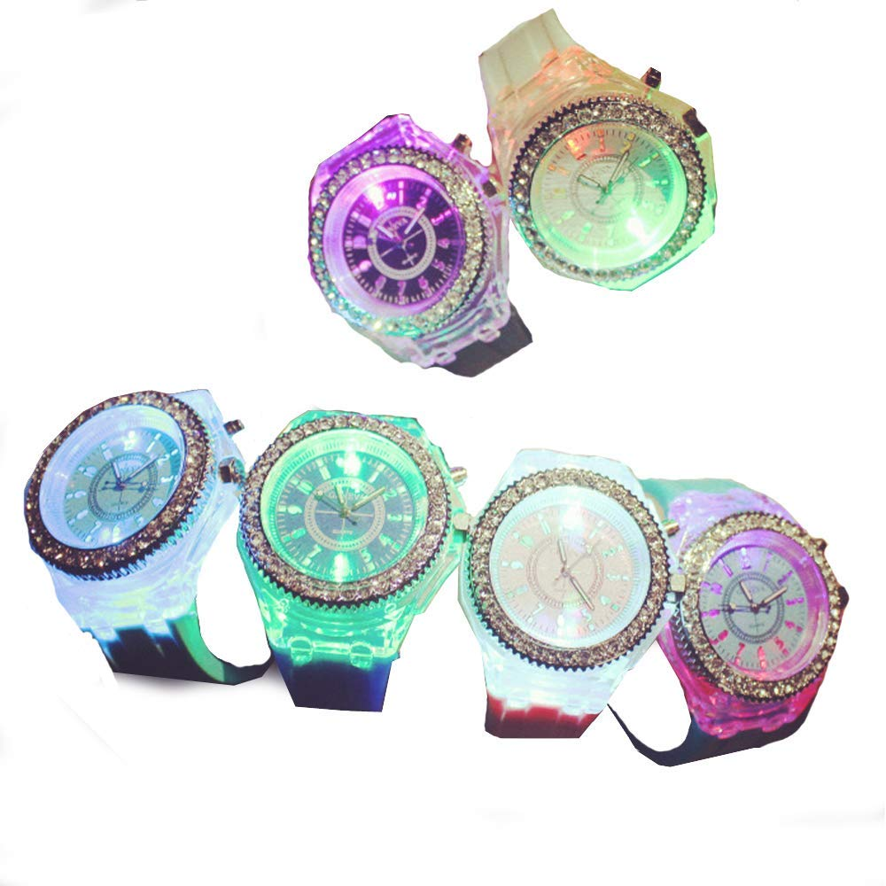 CdyBox Silicone Bling Women Men Watch LED Luminous Colorful Lights Sport Watches Girls Boys 6 Pack